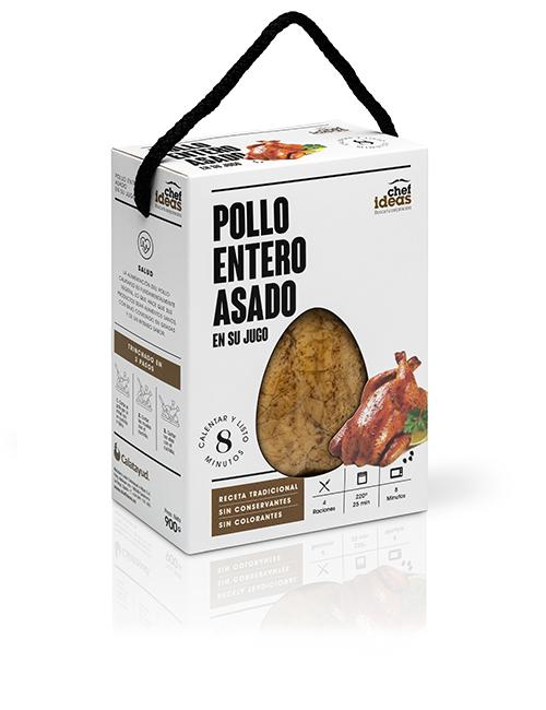 Pollo entero asado en su jugo